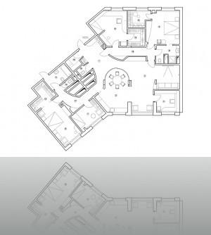 Первоначальный план с коридором  вне зоны воздуховодов