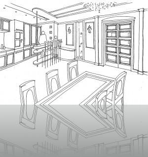 Кухня-столовая, переходящая в гостиную