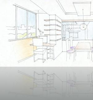 Рабочее место на балконе, через стекло- комната