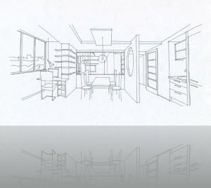 Кухня с объединённым балконом и через стекло-комната