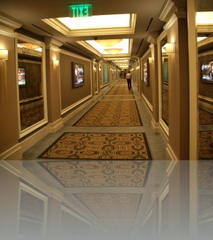 Потолки в несколько уровней, зеркала, ковры, километровые коридоры