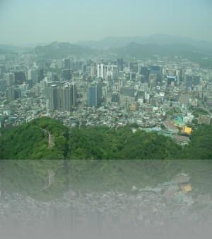 Сеул с телебашни в парке Намсан